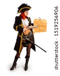 sexy girl in a pirate costume... | Shutterstock . vector #1519256906
