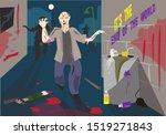 zombie attack in a dark alley... | Shutterstock .eps vector #1519271843