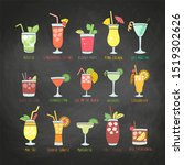 colorful drinks set with the... | Shutterstock . vector #1519302626