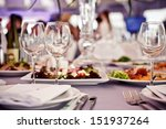 empty glasses set in restaurant | Shutterstock . vector #151937264