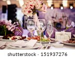 empty glasses set in restaurant | Shutterstock . vector #151937276