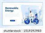 renewable energy flat web page... | Shutterstock .eps vector #1519392983