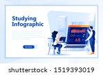 studying infographic flat web...