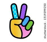 Peace Hand Sign Pop Art Modern...
