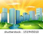 illustration of a river near... | Shutterstock .eps vector #151945010
