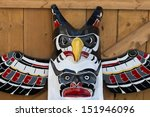 isolated totem wood pole head... | Shutterstock . vector #151946096