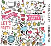hand drawn party doodle happy... | Shutterstock .eps vector #1519478930