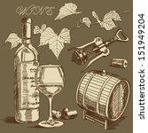 vector wine set | Shutterstock .eps vector #151949204