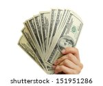 woman hand with dollars... | Shutterstock . vector #151951286