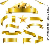 set gold ribbons and stars with ... | Shutterstock .eps vector #151953674