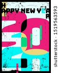 happy new year 2020 poster....   Shutterstock .eps vector #1519563593