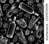hot drinks. sketch seamless...   Shutterstock .eps vector #1519570559