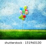 balloon in vintage blue sky  | Shutterstock . vector #151960130