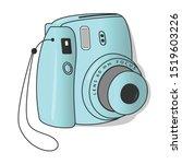 teal  vintage instant camera... | Shutterstock .eps vector #1519603226