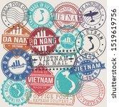 da nang vietnam set of stamps.... | Shutterstock .eps vector #1519619756