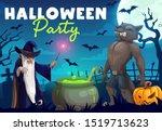 halloween pumpkin  horror bats... | Shutterstock .eps vector #1519713623