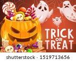 halloween ghosts and pumpkin... | Shutterstock .eps vector #1519713656