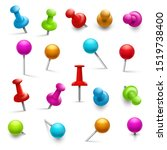 thumbtack. 3d multicolored push ... | Shutterstock . vector #1519738400