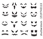 pumpkin faces. halloween jack o ... | Shutterstock . vector #1519743113