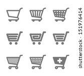 Shopping Cart Icons. Vector.
