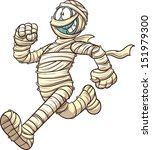 cartoon running mummy. vector... | Shutterstock .eps vector #151979300
