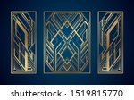 gold art deco panels on dark... | Shutterstock .eps vector #1519815770