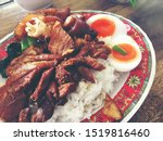 rice with pork legs with boiled ... | Shutterstock . vector #1519816460