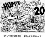 new year 2020 doodle hipster... | Shutterstock .eps vector #1519836179