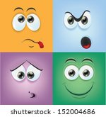 cartoon faces with emotions    Shutterstock .eps vector #152004686