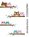 couples owl on the branch | Shutterstock . vector #152006984