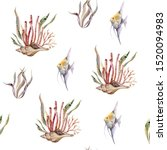 watercolor seamless nautical... | Shutterstock . vector #1520094983