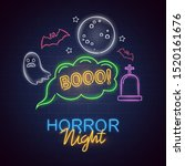 horror night neon sign.... | Shutterstock .eps vector #1520161676