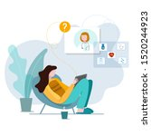 virtual visit to the doctor....   Shutterstock .eps vector #1520244923