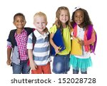 elementary school kids group... | Shutterstock . vector #152028728