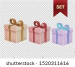 Gift Box Set Presents Christmas Valentines Day Birthday Vector Clipart - stock vector