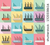 router icons set. flat set of...