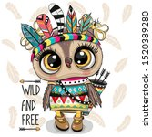 cute cartoon tribal owl with... | Shutterstock .eps vector #1520389280