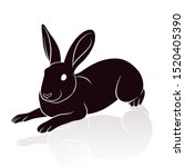 rabbit silhouette vector... | Shutterstock .eps vector #1520405390