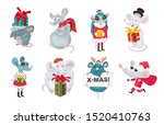 set of cute funny rats with... | Shutterstock .eps vector #1520410763