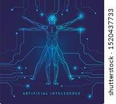 artificial intelligence.human... | Shutterstock .eps vector #1520437733