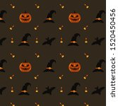 seamless halloween pattern with ... | Shutterstock .eps vector #1520450456