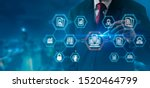 Small photo of Document Management Data System Business Internet Technology and Corporate data management system (DMS) concept. Businessman publish protected document connected with users.