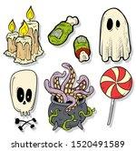 cartoon halloween colorful hand ... | Shutterstock .eps vector #1520491589