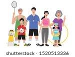 big family in different sport... | Shutterstock .eps vector #1520513336