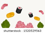 delicious sushi sashimi set...   Shutterstock . vector #1520529563