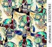 seamless watercolor pattern of... | Shutterstock . vector #1520707883