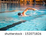 Man Swims Forward Crawl Style...