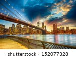 Stock photo manhattan new york city spectacular sunset city view 152077328