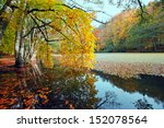 beautiful lake in the autumn... | Shutterstock . vector #152078564