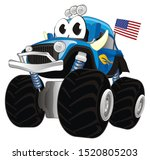 Stock photo funny bigfoot truck with eyes and flag 1520805203